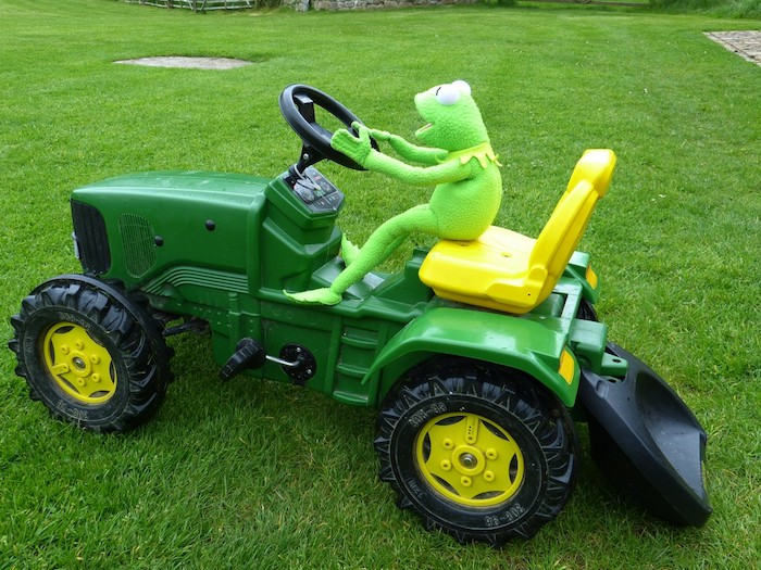 a frog on riding lawn mower